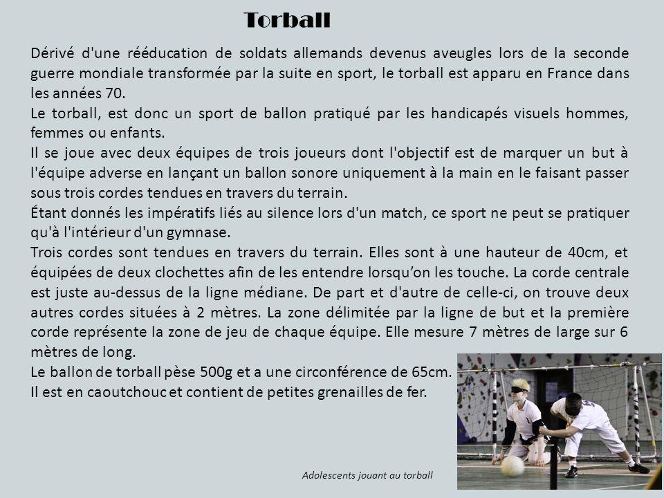 Torball Dérivé d'une rééducation de soldats allemands devenus aveugles lors de la seconde guerre mondiale transformée par la suite en sport, le torbal