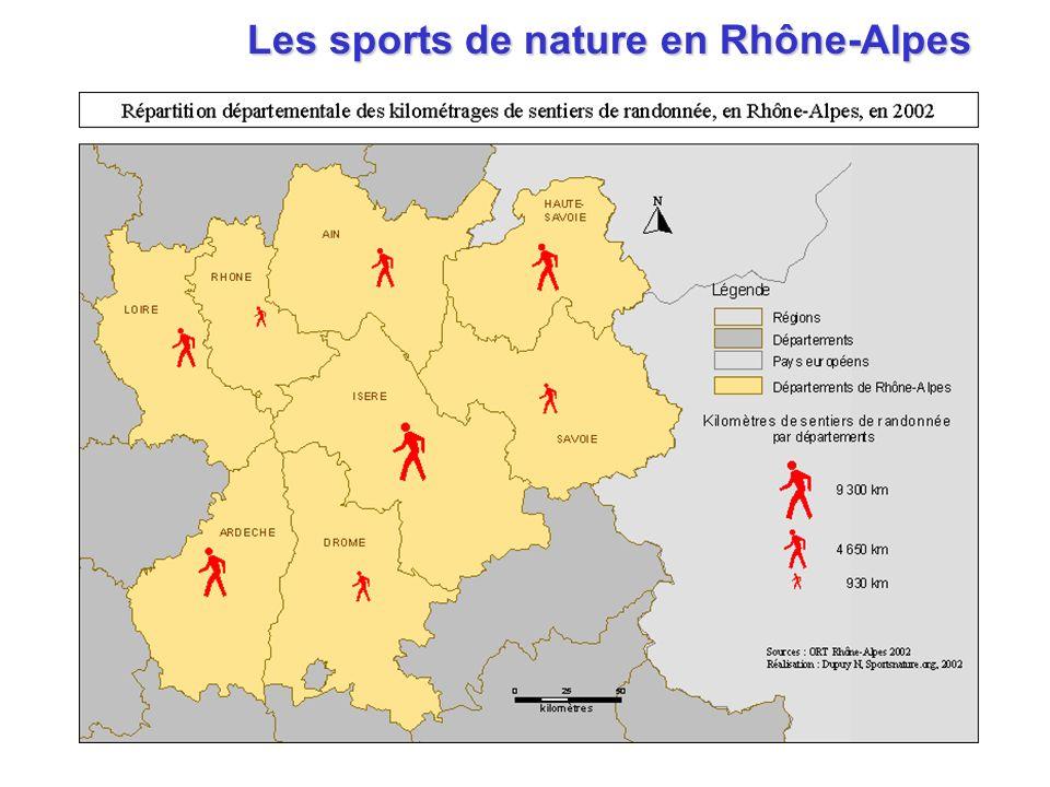 Les sports de nature en Rhône-Alpes : Les sports de nature en Rhône-Alpes : le poids de lIsère LIsère est au 1 er rang régional en nombre de sites descalade 1 er rang régional en nombre de sites de canyonisme 2 ème rang régional en nombre de sites dalpinisme 4 ème rang régional en nombre de via-ferrata etc.