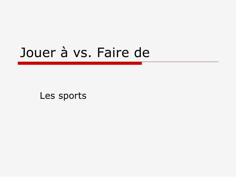 Jouer à vs. Faire de Les sports