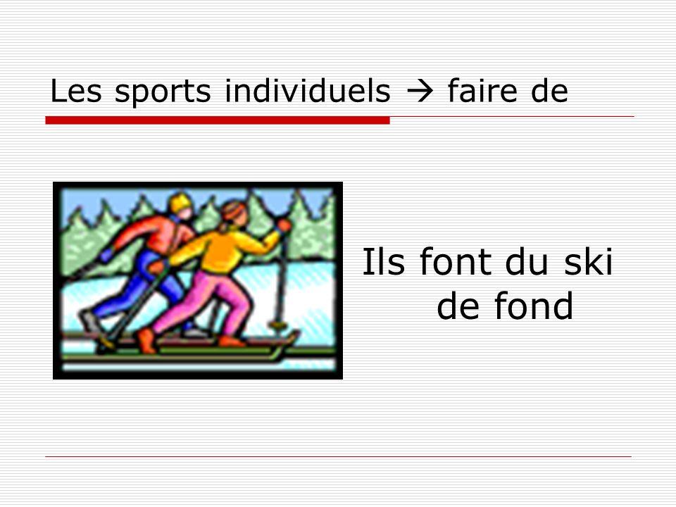 Les sports individuels faire de Ils font du ski de fond