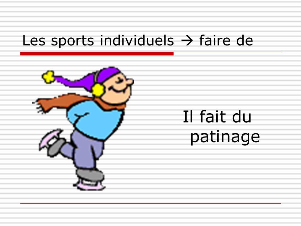 Les sports individuels faire de Il fait du patinage