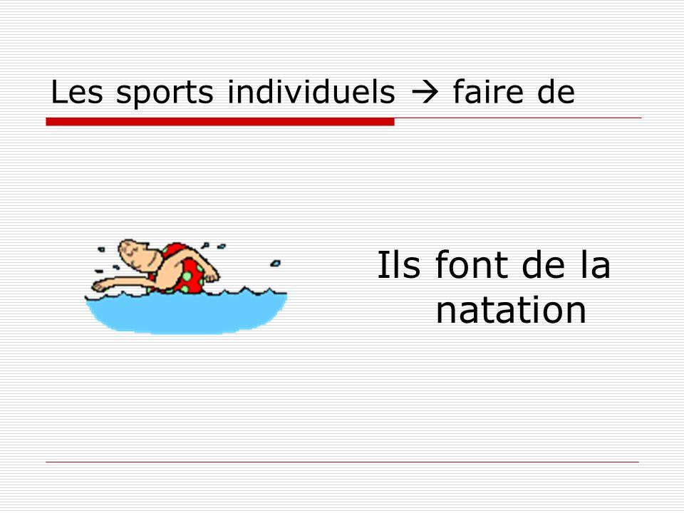 Les sports individuels faire de Ils font de la natation