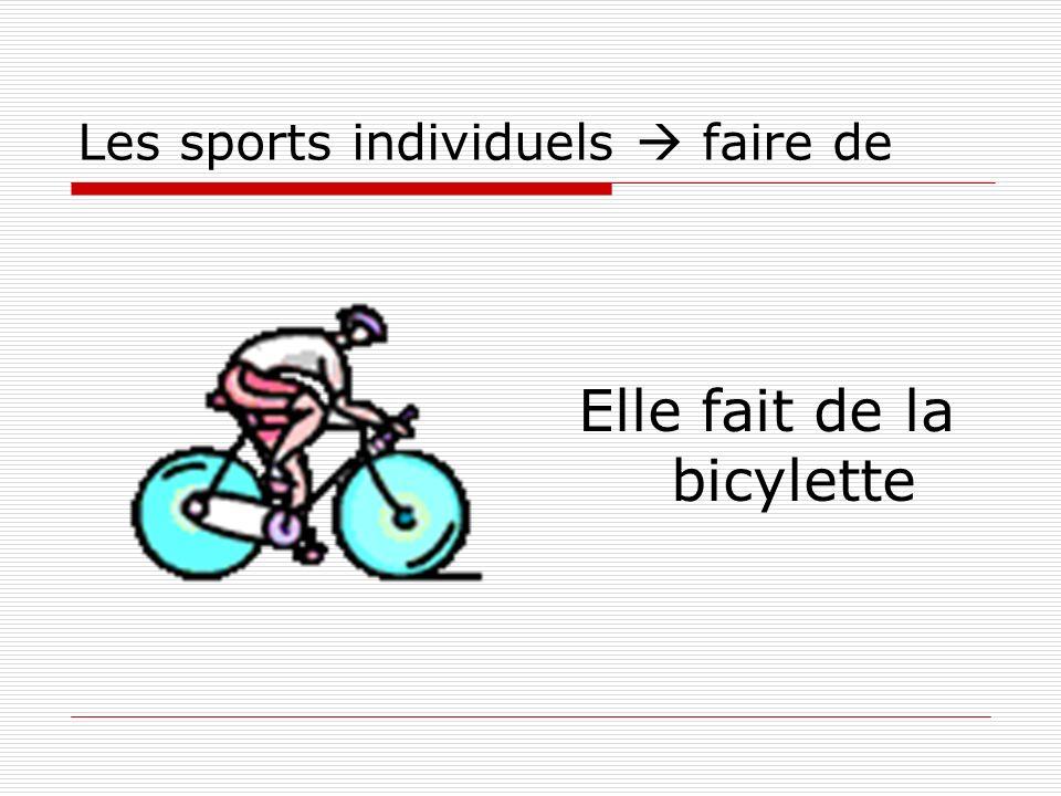 Les sports individuels faire de Elle fait de la bicylette