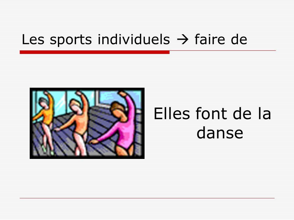 Les sports individuels faire de Elles font de la danse