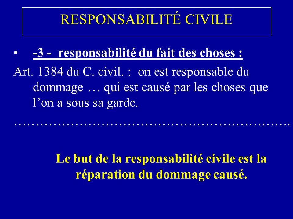 RESPONSABILITÉ CIVILE -3 - responsabilité du fait des choses : Art.