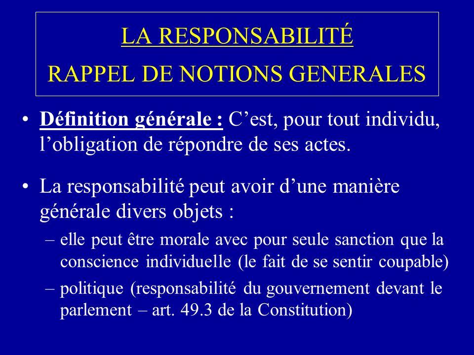LA RESPONSABILITÉ RAPPEL DE NOTIONS GENERALES Définition générale : Cest, pour tout individu, lobligation de répondre de ses actes.