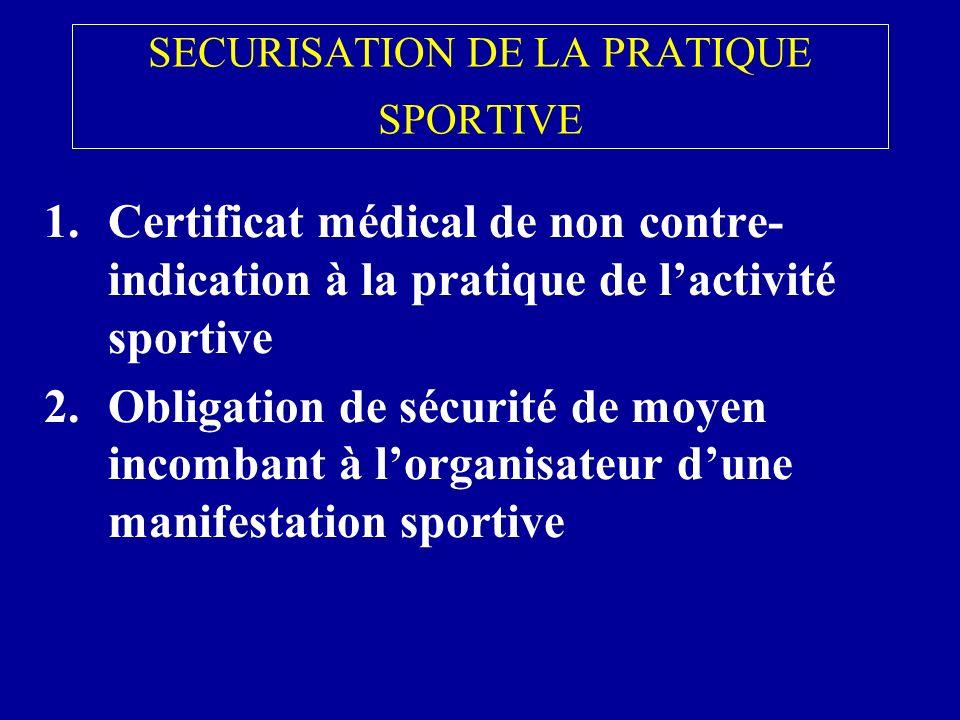 SECURISATION DE LA PRATIQUE SPORTIVE 1.Certificat médical de non contre- indication à la pratique de lactivité sportive 2.Obligation de sécurité de moyen incombant à lorganisateur dune manifestation sportive