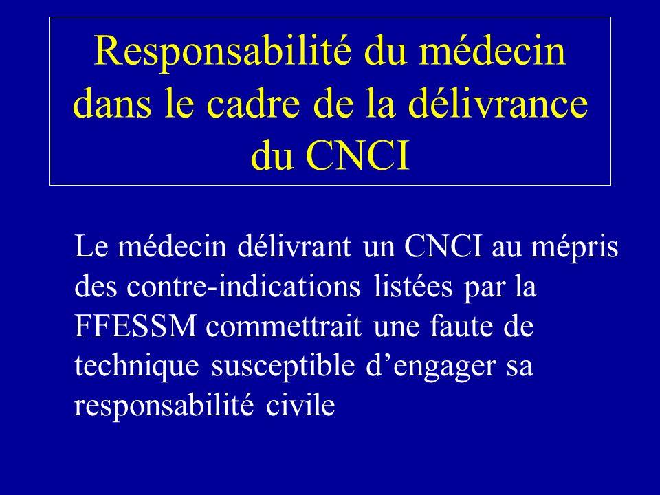 Responsabilité du médecin dans le cadre de la délivrance du CNCI Le médecin délivrant un CNCI au mépris des contre-indications listées par la FFESSM commettrait une faute de technique susceptible dengager sa responsabilité civile