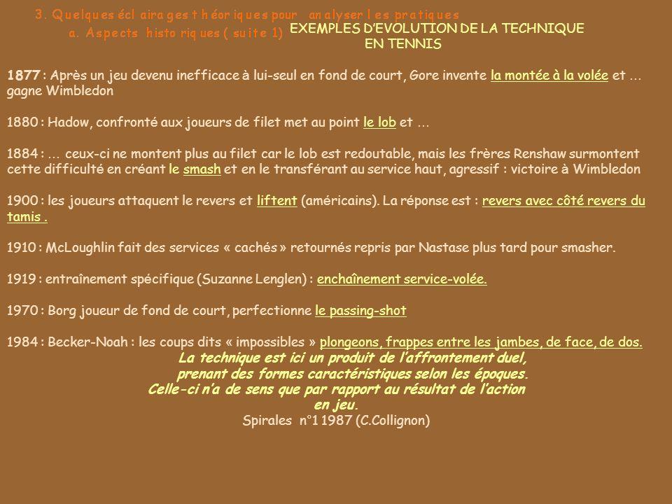 EXEMPLES DEVOLUTION DE LA TECHNIQUE EN TENNIS 1877 : Apr è s un jeu devenu inefficace à lui-seul en fond de court, Gore invente la montée à la volée e
