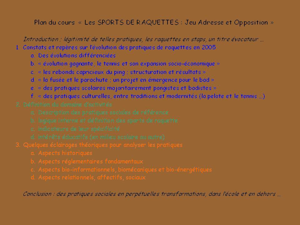 Les sports de raquette présentent un certain nombre de caractéristiques qui vont conditionner lactivité motrice adaptative du pratiquant et le type de motricité sollicité.