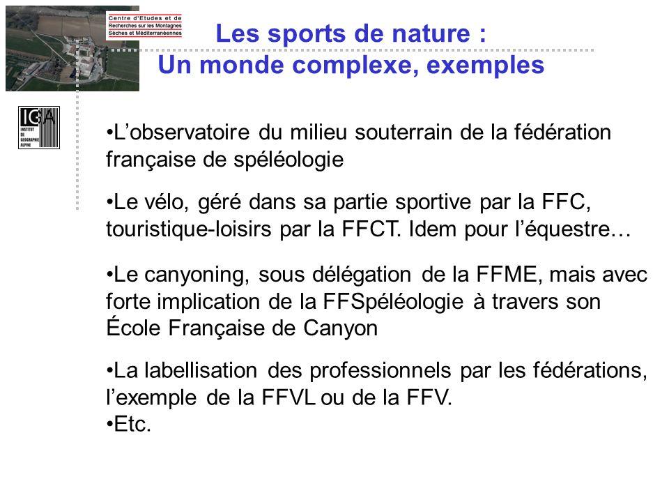 Les sports de nature : Un monde complexe, exemples Lobservatoire du milieu souterrain de la fédération française de spéléologie Le vélo, géré dans sa