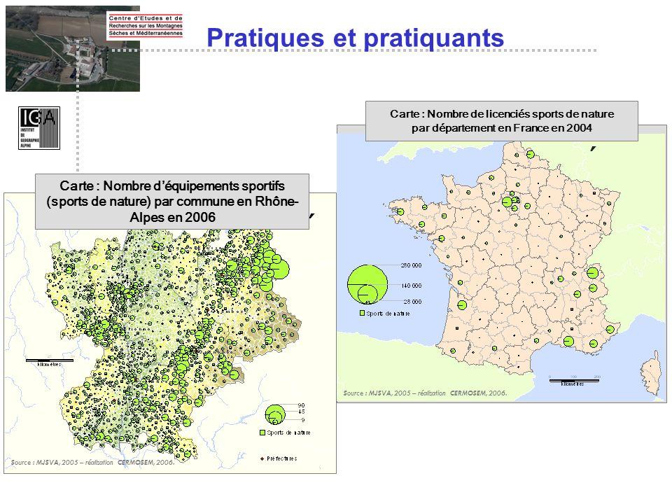 Pratiques et pratiquants Carte : Nombre de licenciés sports de nature par département en France en 2004 Source : MJSVA, 2005 – réalisation CERMOSEM, 2