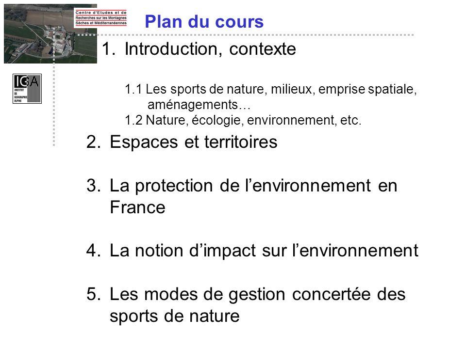1.Introduction, contexte 1.1 Les sports de nature, milieux, emprise spatiale, aménagements… 1.2 Nature, écologie, environnement, etc. Plan du cours 2.