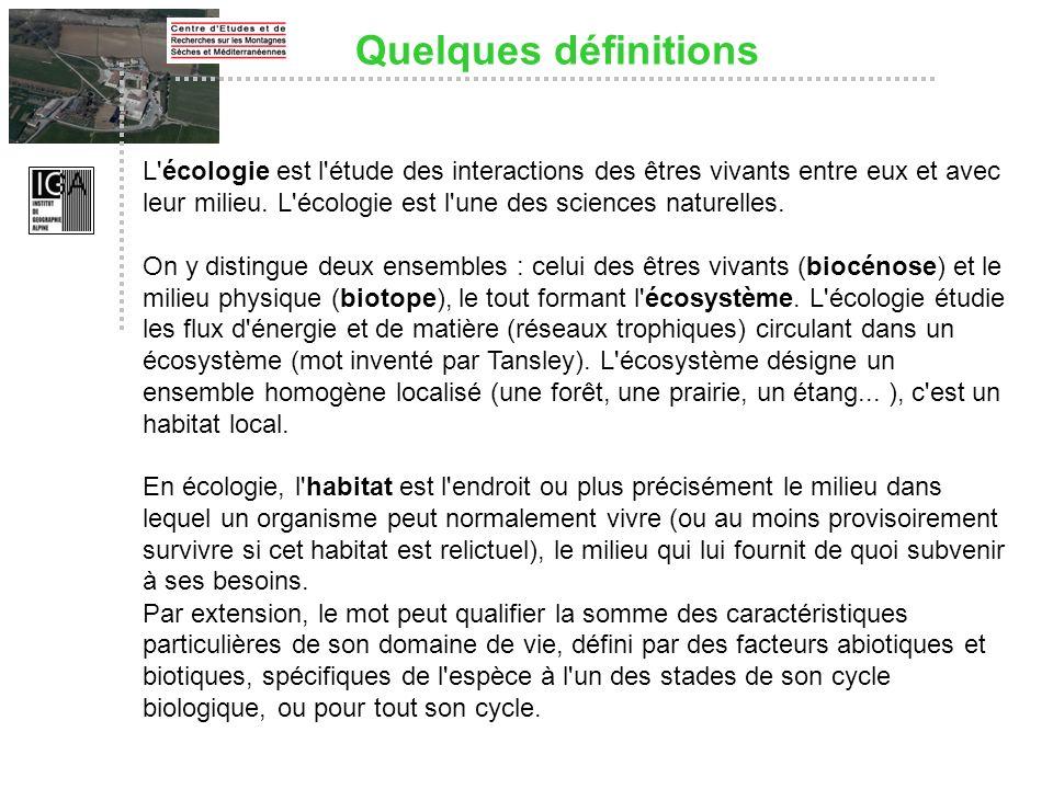 L'écologie est l'étude des interactions des êtres vivants entre eux et avec leur milieu. L'écologie est l'une des sciences naturelles. On y distingue
