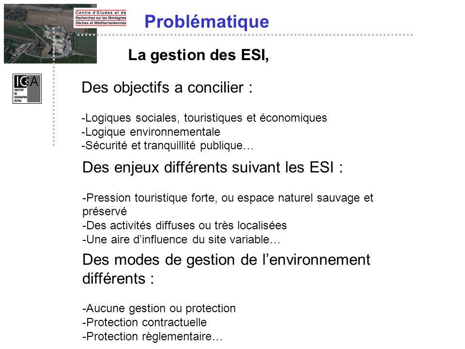 La gestion des ESI, Des objectifs a concilier : -Logiques sociales, touristiques et économiques -Logique environnementale -Sécurité et tranquillité pu
