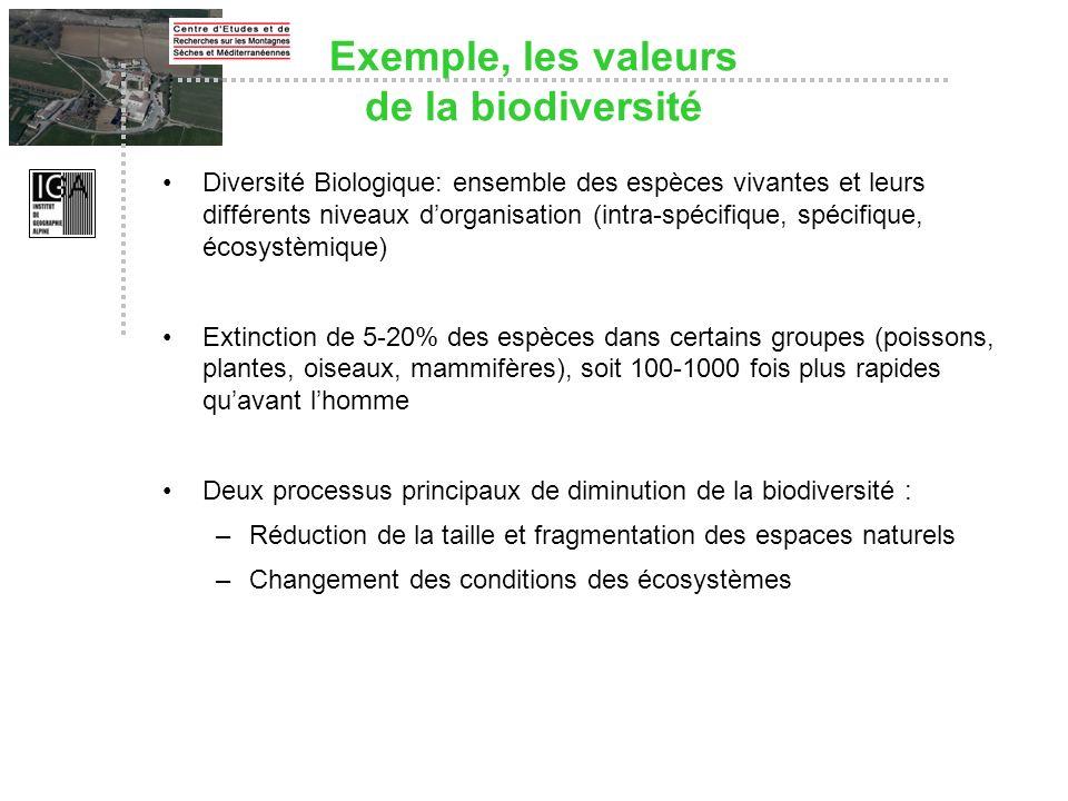 Exemple, les valeurs de la biodiversité Diversité Biologique: ensemble des espèces vivantes et leurs différents niveaux dorganisation (intra-spécifiqu