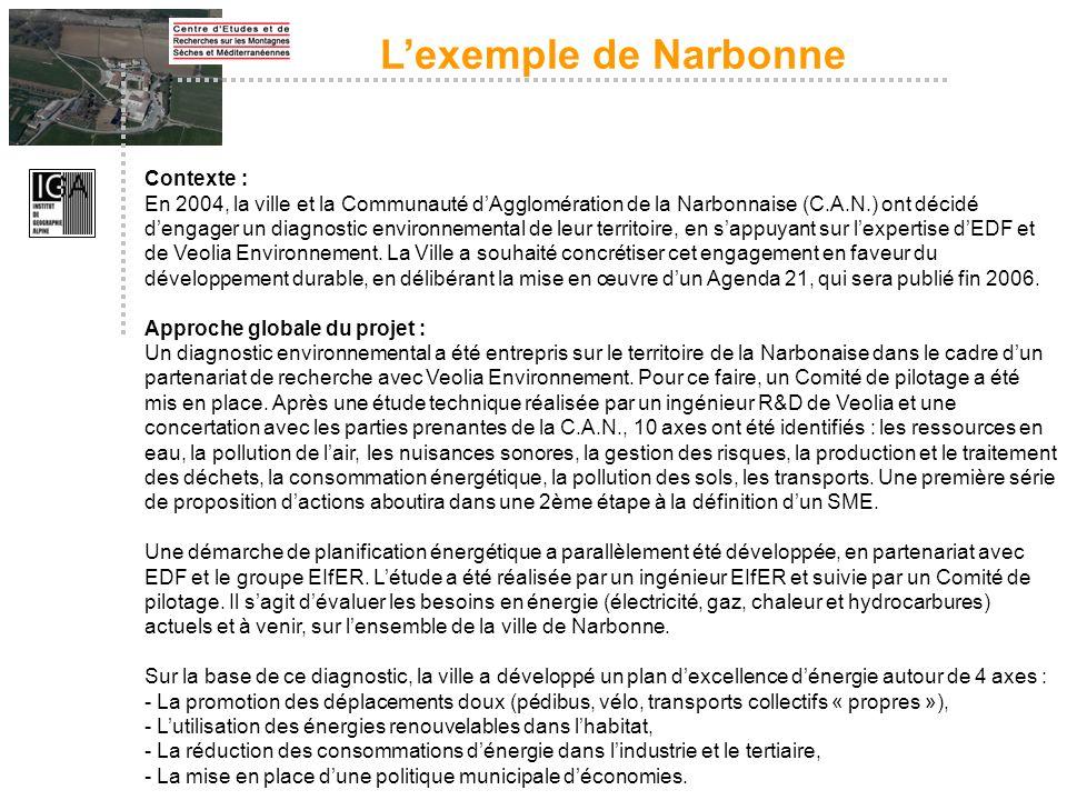 Contexte : En 2004, la ville et la Communauté dAgglomération de la Narbonnaise (C.A.N.) ont décidé dengager un diagnostic environnemental de leur terr