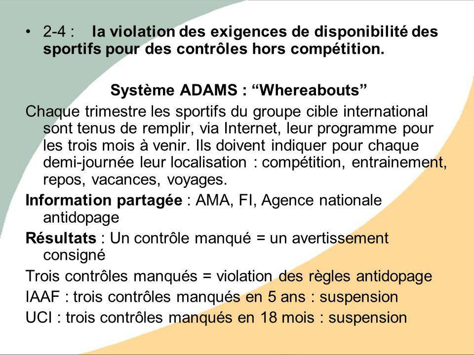 2-4 : la violation des exigences de disponibilité des sportifs pour des contrôles hors compétition. Système ADAMS : Whereabouts Chaque trimestre les s