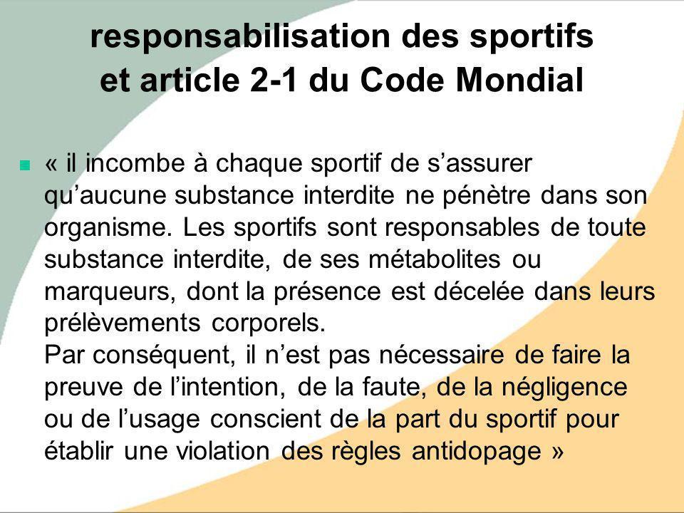 responsabilisation des sportifs et article 2-1 du Code Mondial « il incombe à chaque sportif de sassurer quaucune substance interdite ne pénètre dans
