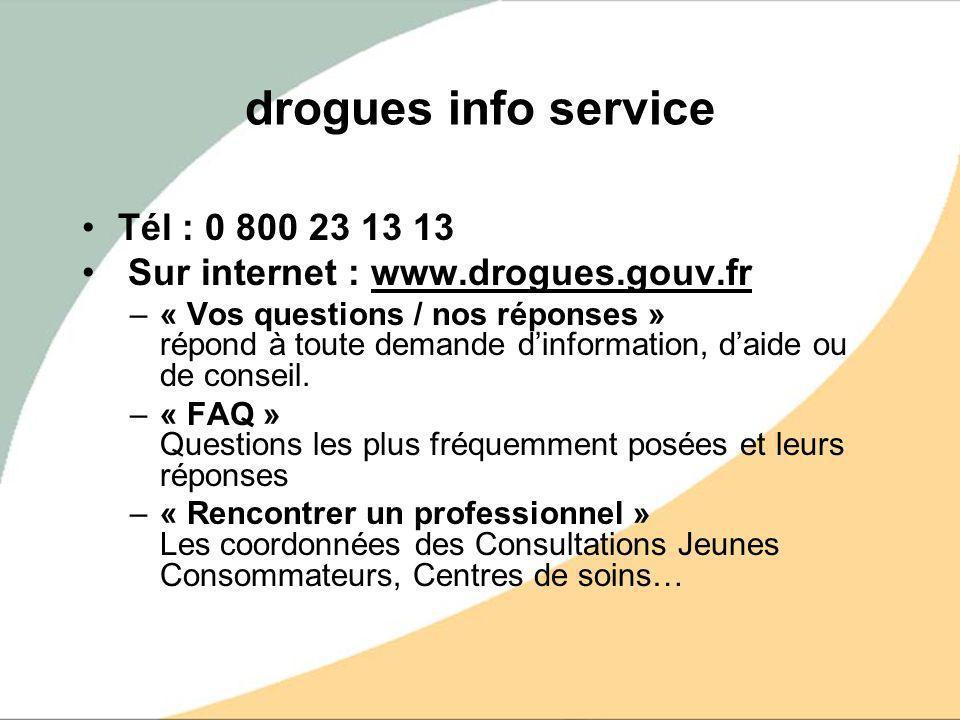 drogues info service Tél : 0 800 23 13 13 Sur internet : www.drogues.gouv.fr –« Vos questions / nos réponses » répond à toute demande dinformation, da