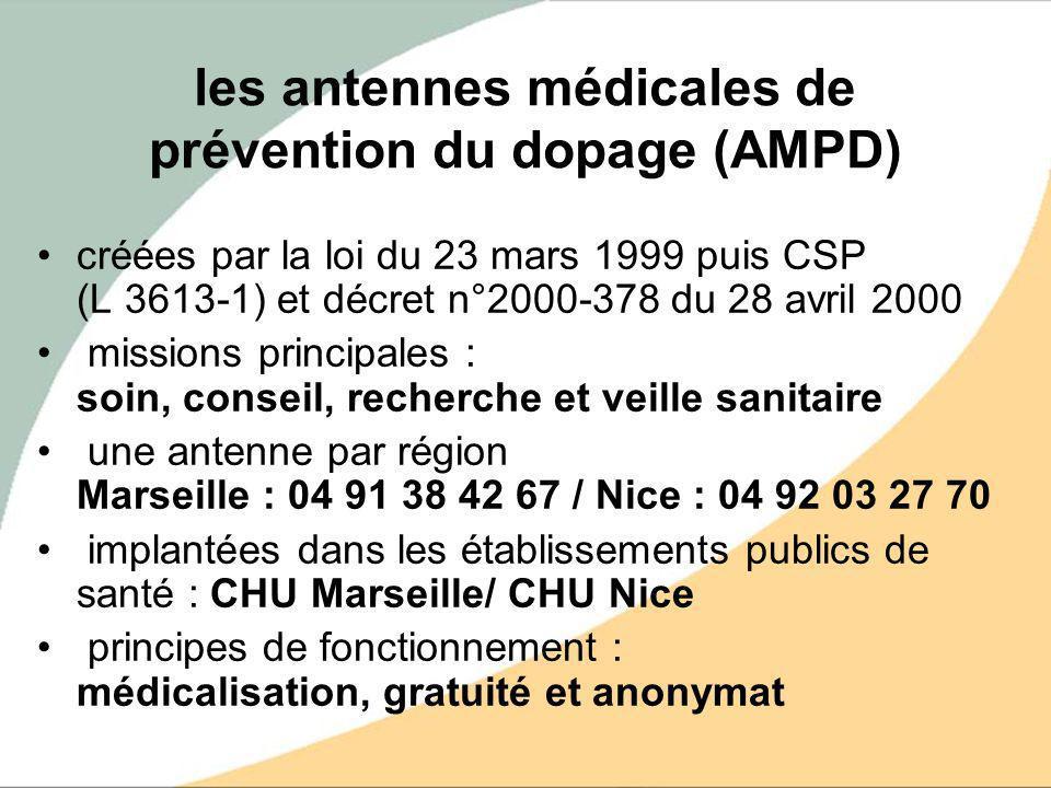 les antennes médicales de prévention du dopage (AMPD) créées par la loi du 23 mars 1999 puis CSP (L 3613-1) et décret n°2000-378 du 28 avril 2000 miss