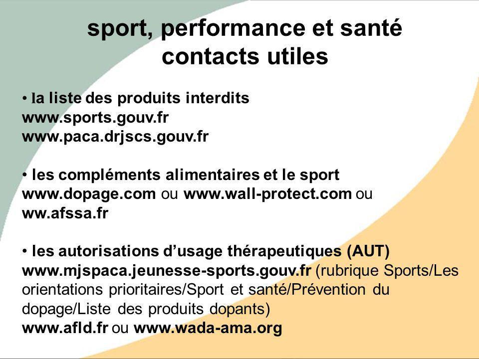 l a liste des produits interdits www.sports.gouv.fr www.paca.drjscs.gouv.fr les compléments alimentaires et le sport www.dopage.com ou www.wall-protec