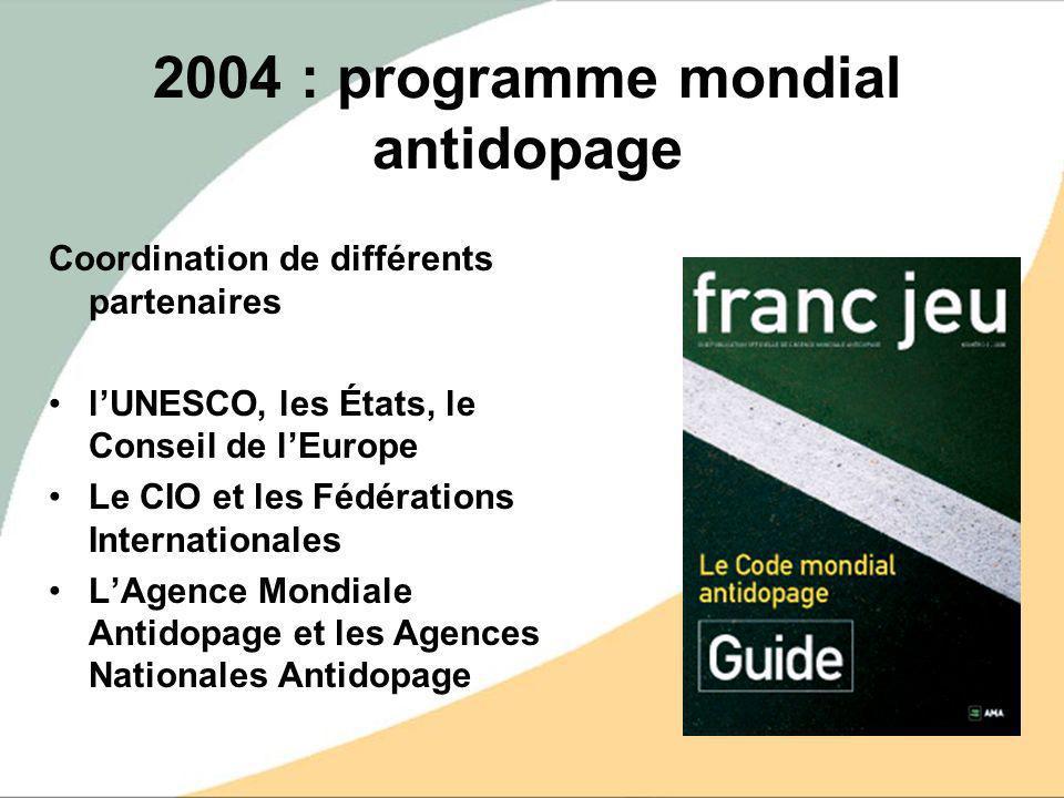 2004 : programme mondial antidopage Coordination de différents partenaires lUNESCO, les États, le Conseil de lEurope Le CIO et les Fédérations Interna