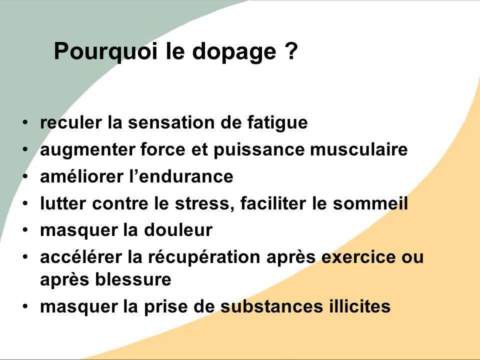 Pourquoi le dopage ? reculer la sensation de fatigue augmenter force et puissance musculaire améliorer lendurance lutter contre le stress, faciliter l