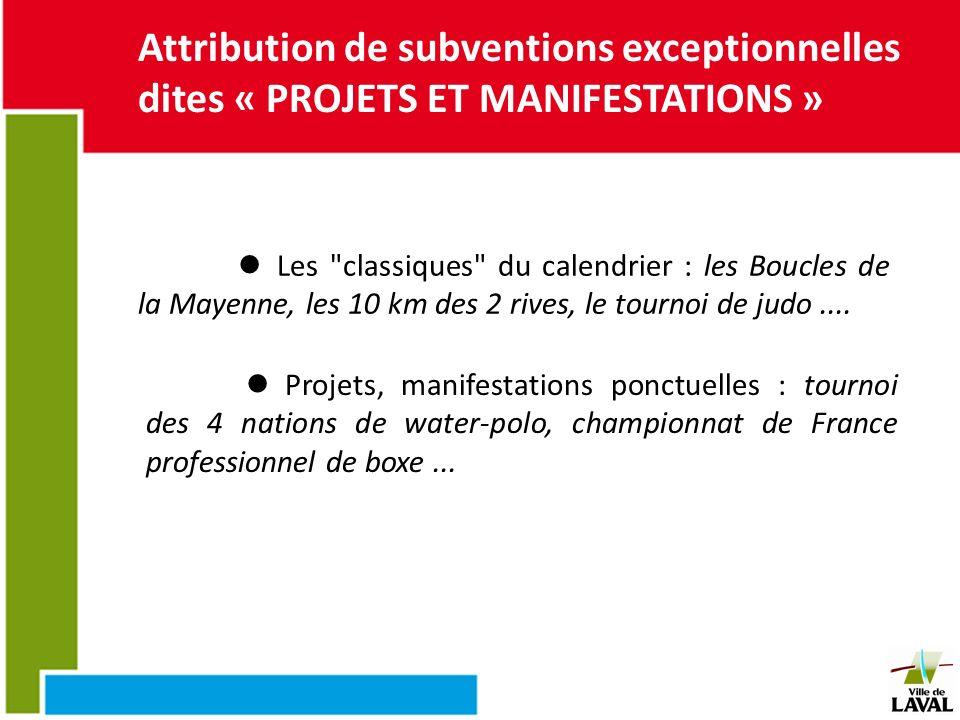 Attribution de subventions exceptionnelles dites « PROJETS ET MANIFESTATIONS » Les