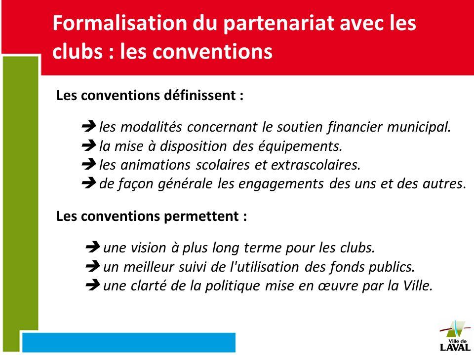 Formalisation du partenariat avec les clubs : les conventions Les conventions définissent : les modalités concernant le soutien financier municipal. l