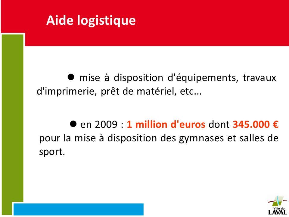 Aide logistique mise à disposition d'équipements, travaux d'imprimerie, prêt de matériel, etc... en 2009 : 1 million d'euros dont 345.000 pour la mise