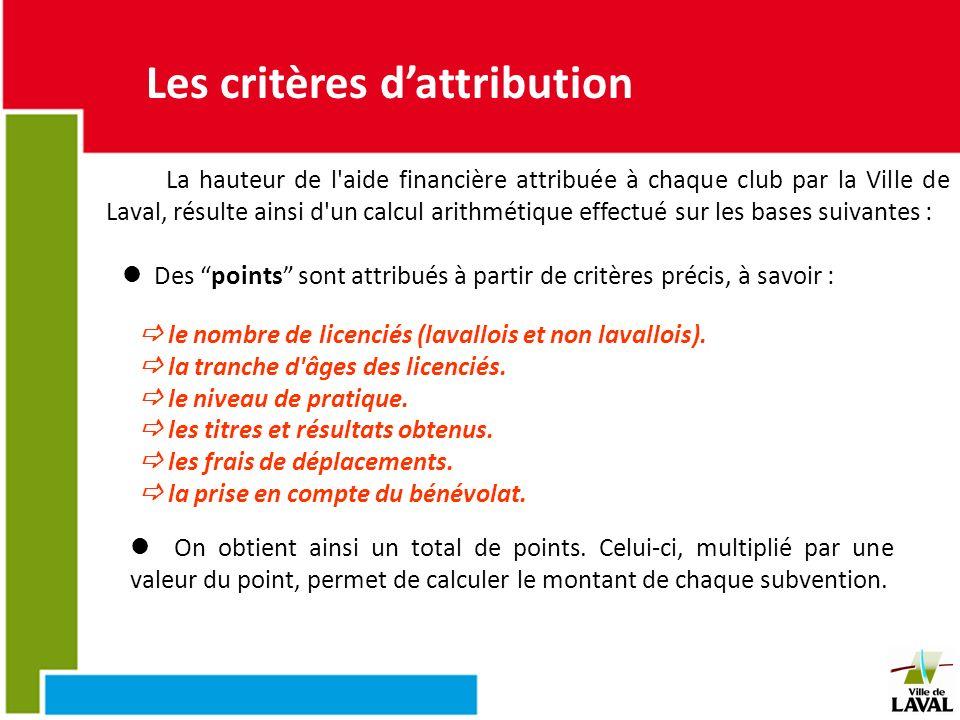 Les critères dattribution La hauteur de l'aide financière attribuée à chaque club par la Ville de Laval, résulte ainsi d'un calcul arithmétique effect
