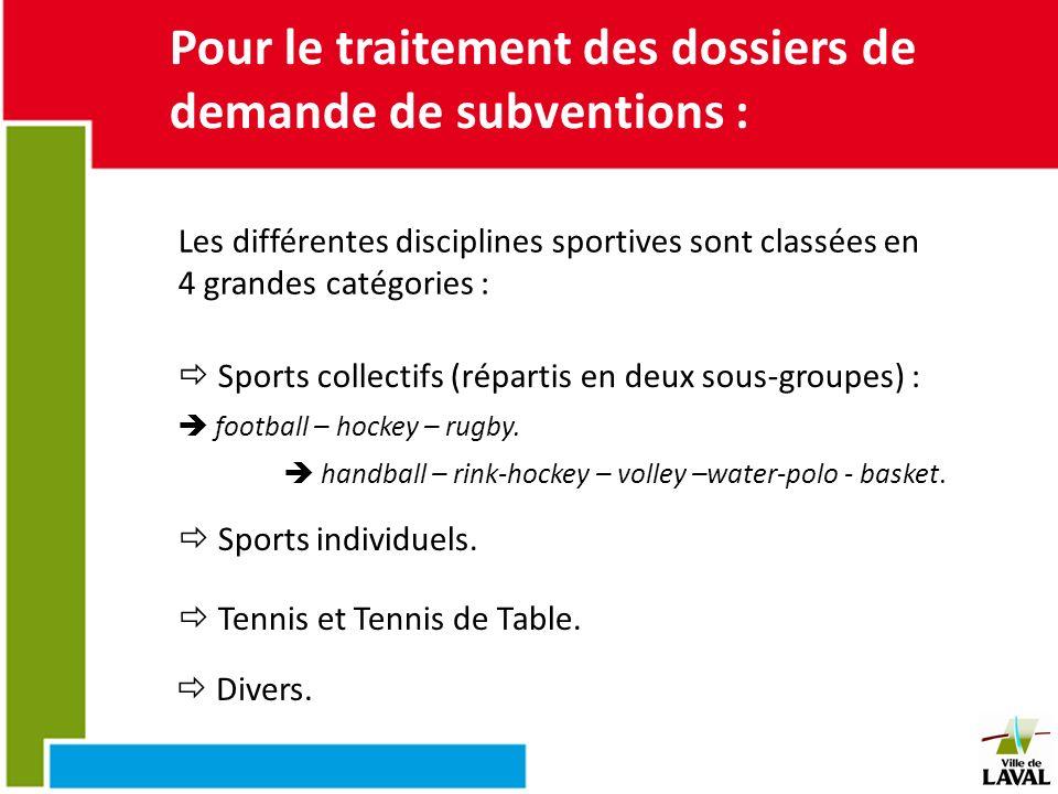 Pour le traitement des dossiers de demande de subventions : Les différentes disciplines sportives sont classées en 4 grandes catégories : Sports colle