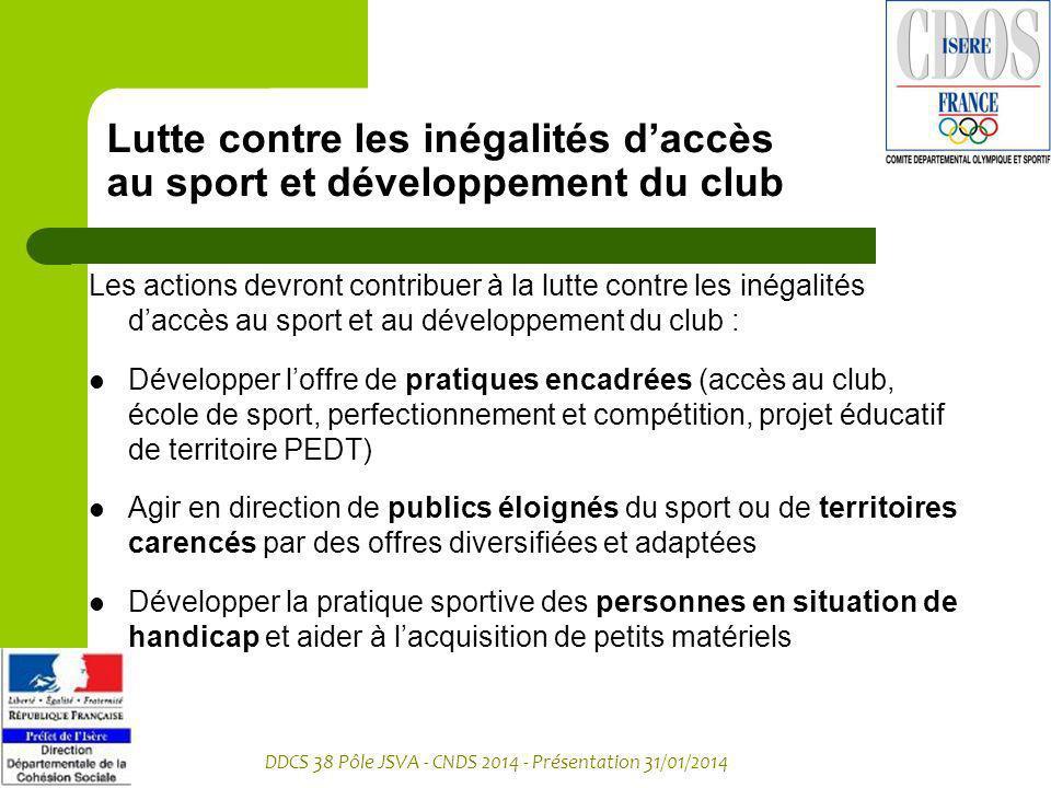 DDCS 38 Pôle JSVA - CNDS 2014 - Présentation 31/01/2014 Lutte contre les inégalités daccès au sport et développement du club Les actions devront contr
