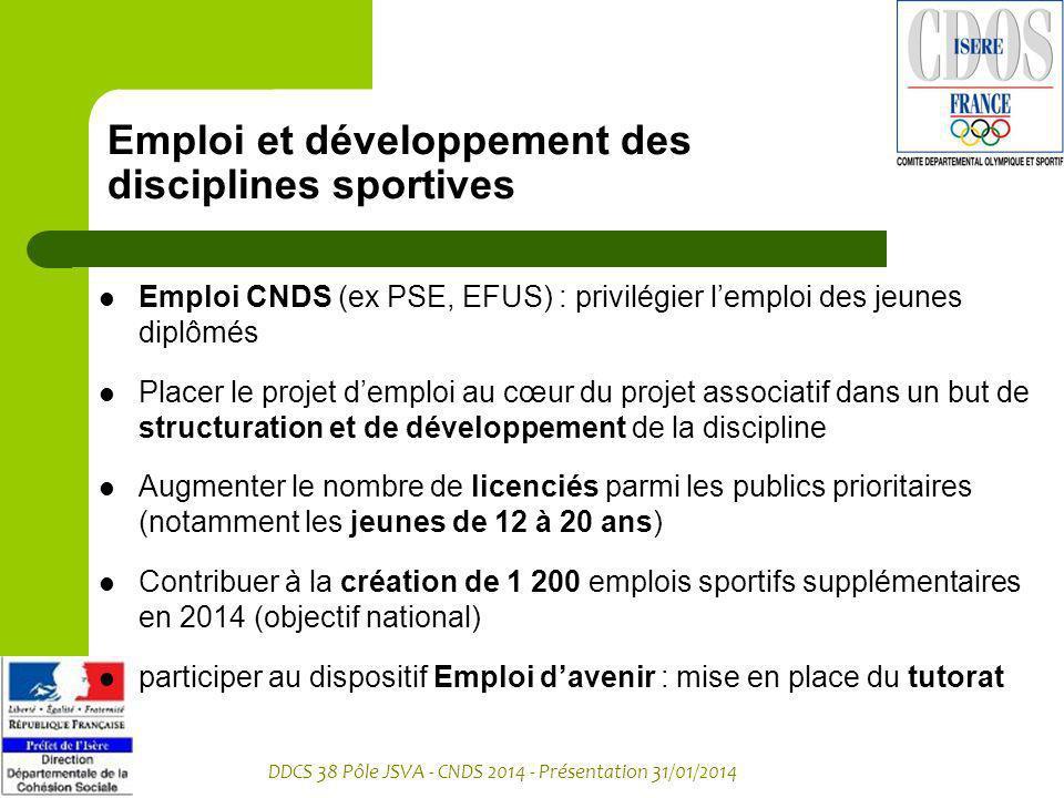 DDCS 38 Pôle JSVA - CNDS 2014 - Présentation 31/01/2014 Emploi et développement des disciplines sportives Emploi CNDS (ex PSE, EFUS) : privilégier lem