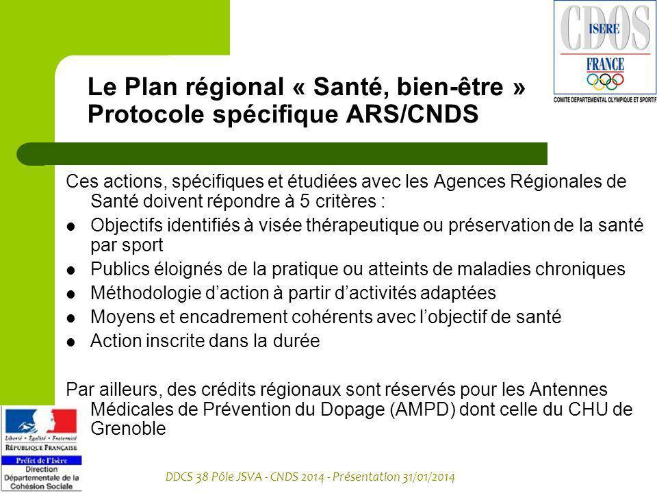 DDCS 38 Pôle JSVA - CNDS 2014 - Présentation 31/01/2014 Le Plan régional « Santé, bien-être » Protocole spécifique ARS/CNDS Ces actions, spécifiques e