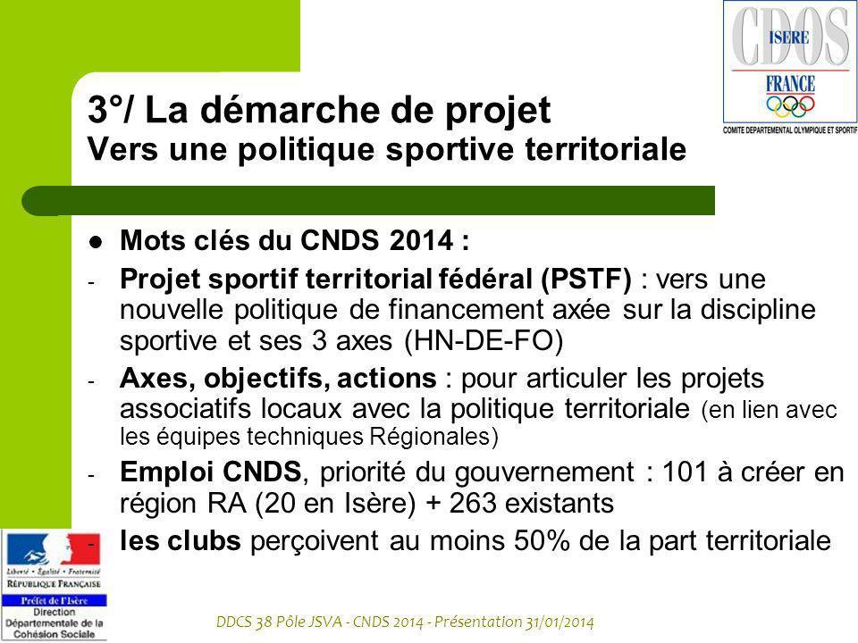 DDCS 38 Pôle JSVA - CNDS 2014 - Présentation 31/01/2014 3°/ La démarche de projet Vers une politique sportive territoriale Mots clés du CNDS 2014 : -