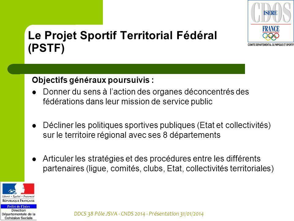DDCS 38 Pôle JSVA - CNDS 2014 - Présentation 31/01/2014 Le Projet Sportif Territorial Fédéral (PSTF) Objectifs généraux poursuivis : Donner du sens à