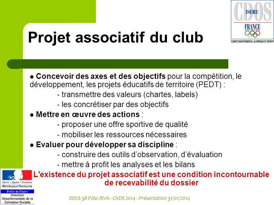 DDCS 38 Pôle JSVA - CNDS 2014 - Présentation 31/01/2014 Projet associatif du club Concevoir des axes et des objectifs pour la compétition, le développ