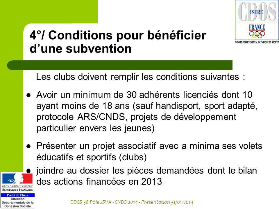 DDCS 38 Pôle JSVA - CNDS 2014 - Présentation 31/01/2014 4°/ Conditions pour bénéficier dune subvention Les clubs doivent remplir les conditions suivan