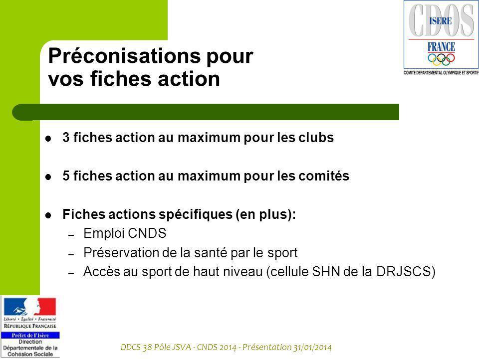 DDCS 38 Pôle JSVA - CNDS 2014 - Présentation 31/01/2014 Préconisations pour vos fiches action 3 fiches action au maximum pour les clubs 5 fiches actio