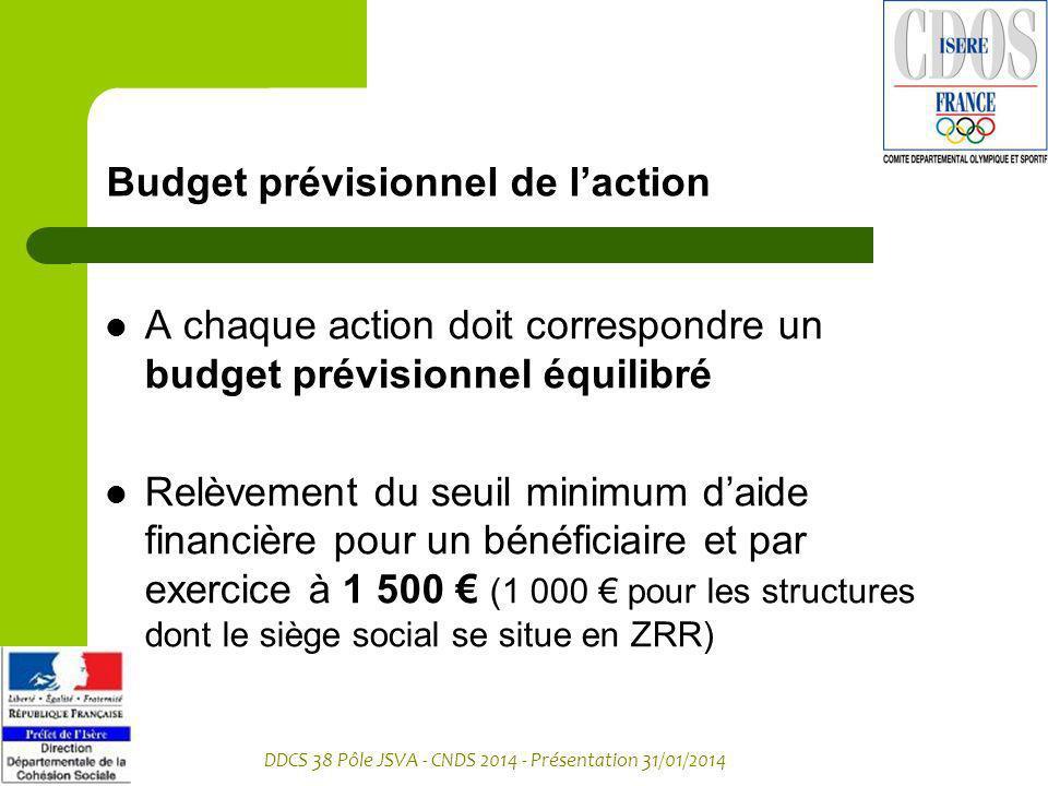 DDCS 38 Pôle JSVA - CNDS 2014 - Présentation 31/01/2014 Budget prévisionnel de laction A chaque action doit correspondre un budget prévisionnel équili
