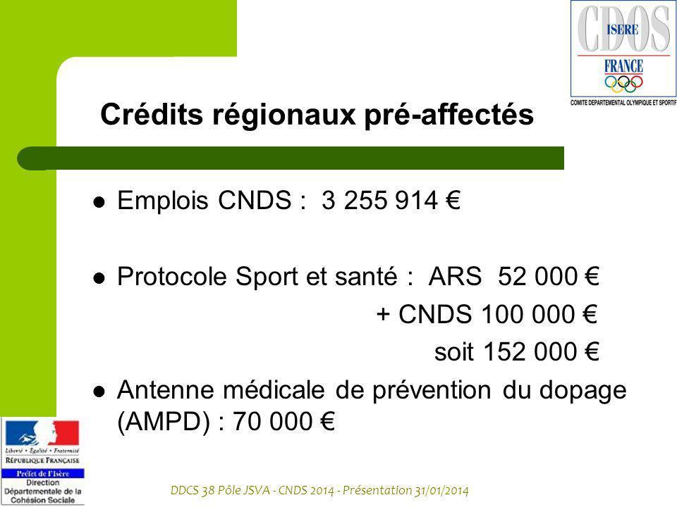 DDCS 38 Pôle JSVA - CNDS 2014 - Présentation 31/01/2014 Crédits régionaux pré-affectés Emplois CNDS : 3 255 914 Protocole Sport et santé : ARS 52 000