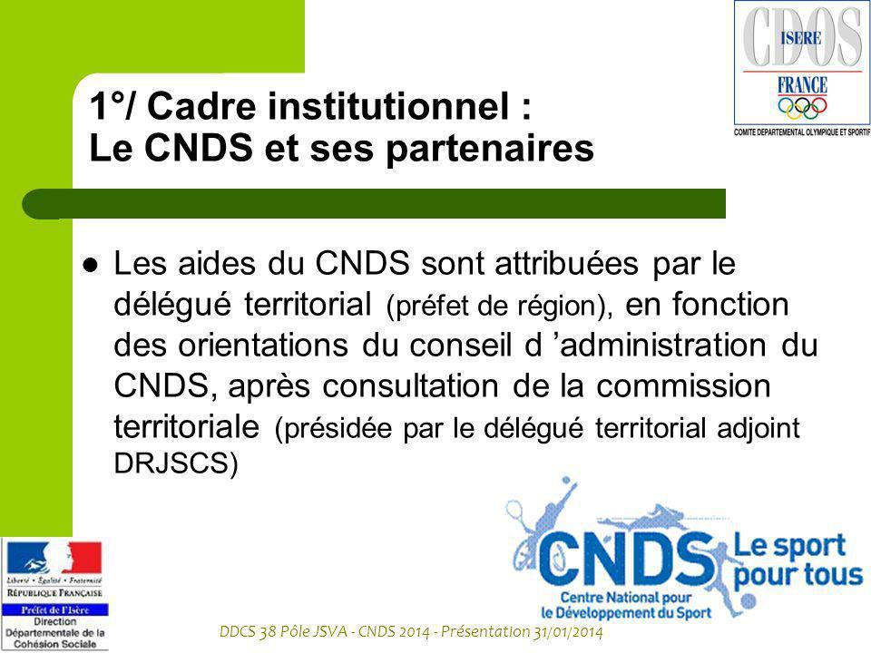DDCS 38 Pôle JSVA - CNDS 2014 - Présentation 31/01/2014 1°/ Cadre institutionnel : Le CNDS et ses partenaires Les aides du CNDS sont attribuées par le