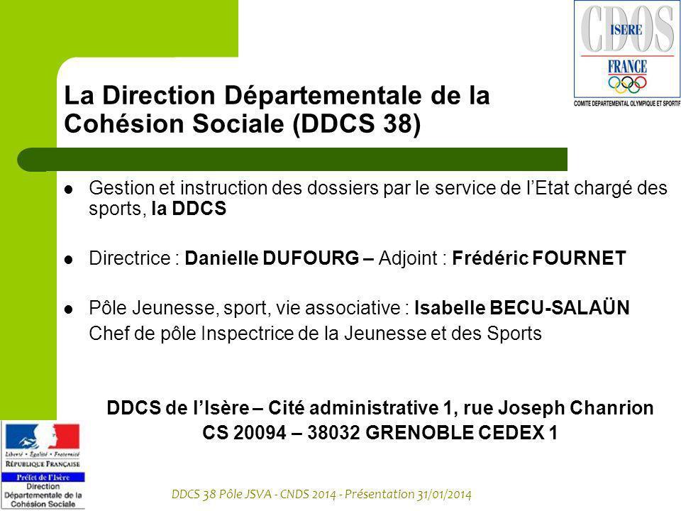 DDCS 38 Pôle JSVA - CNDS 2014 - Présentation 31/01/2014 La Direction Départementale de la Cohésion Sociale (DDCS 38) Gestion et instruction des dossie