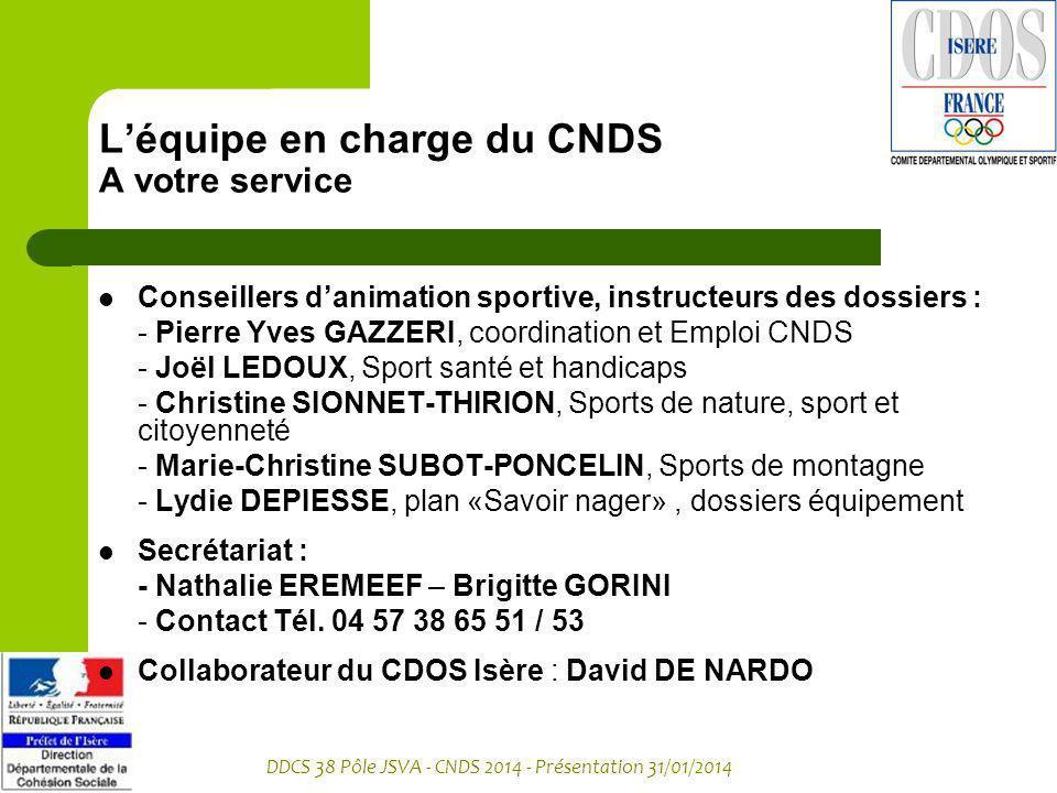 DDCS 38 Pôle JSVA - CNDS 2014 - Présentation 31/01/2014 Léquipe en charge du CNDS A votre service Conseillers danimation sportive, instructeurs des do