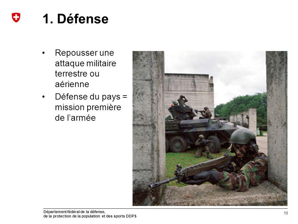 Département fédéral de la défense, de la protection de la population et des sports DDPS 1. Défense Repousser une attaque militaire terrestre ou aérien