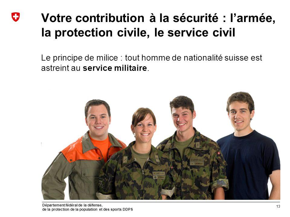 Département fédéral de la défense, de la protection de la population et des sports DDPS Votre contribution à la sécurité : larmée, la protection civil