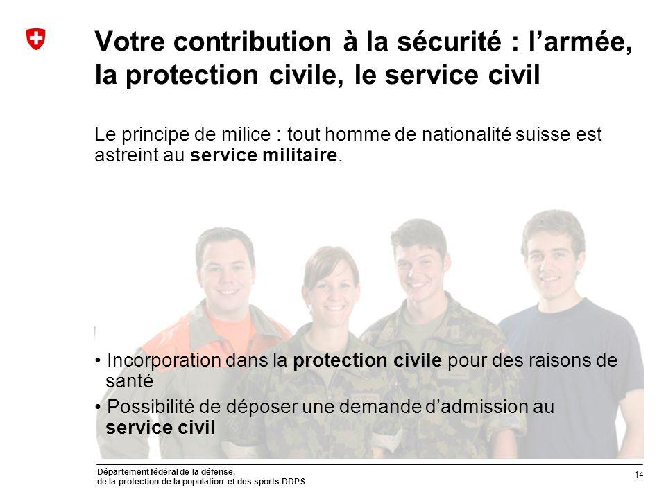 Département fédéral de la défense, de la protection de la population et des sports DDPS Le principe de milice : tout homme de nationalité suisse est astreint au service militaire.