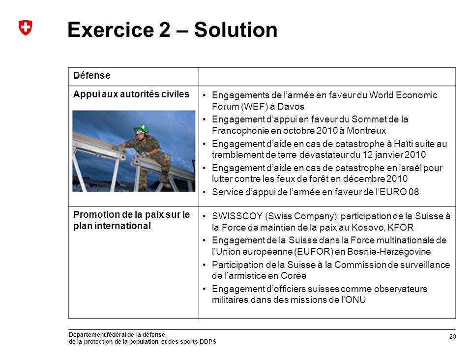 Département fédéral de la défense, de la protection de la population et des sports DDPS Exercice 2 – Solution Défense Appui aux autorités civiles Enga